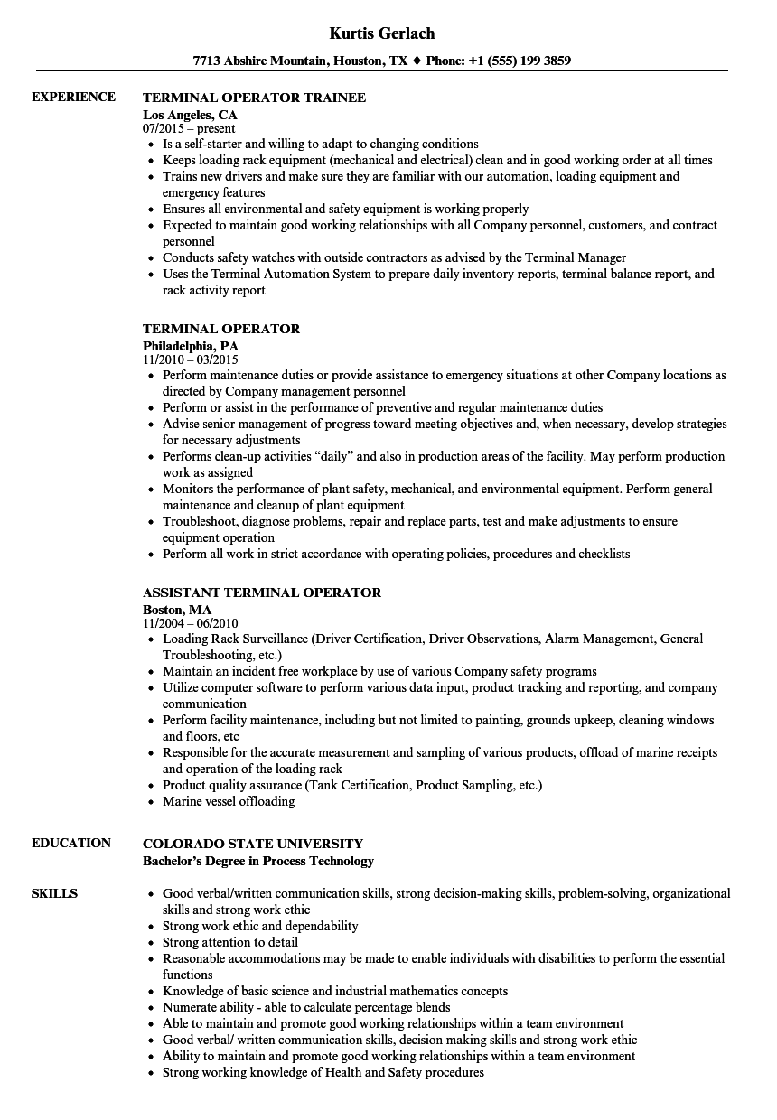 Terminal Operator Resume Samples | Velvet Jobs