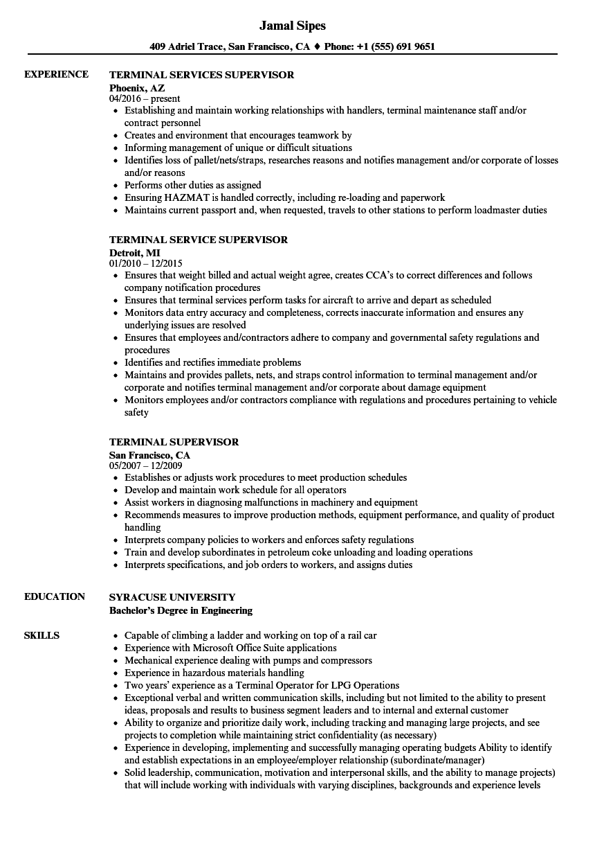 Terminal Supervisor Resume Samples | Velvet Jobs