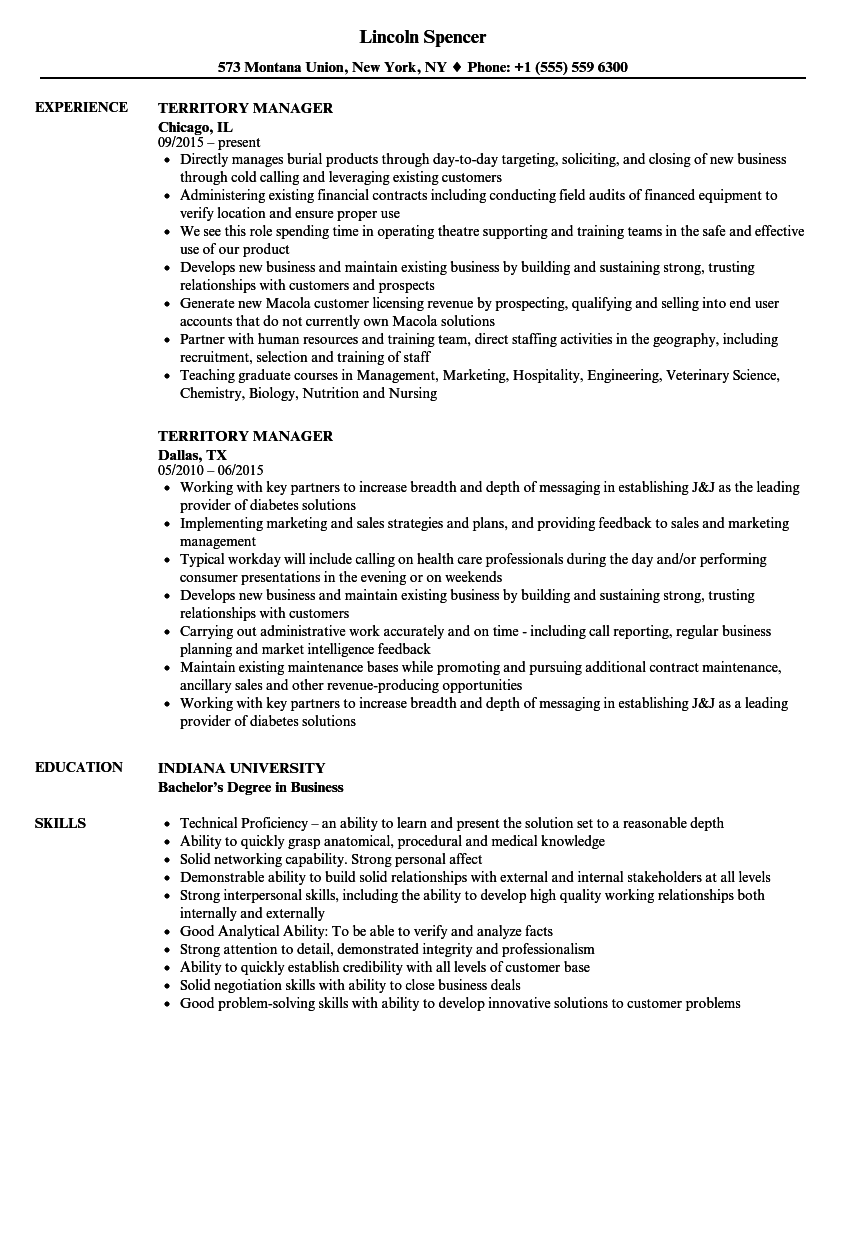 territory manager resume samples