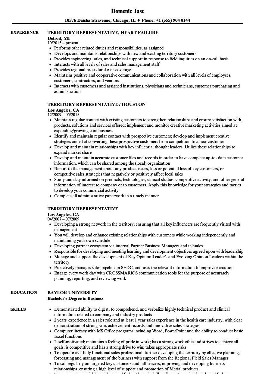 Territory Representative Resume Samples Velvet Jobs