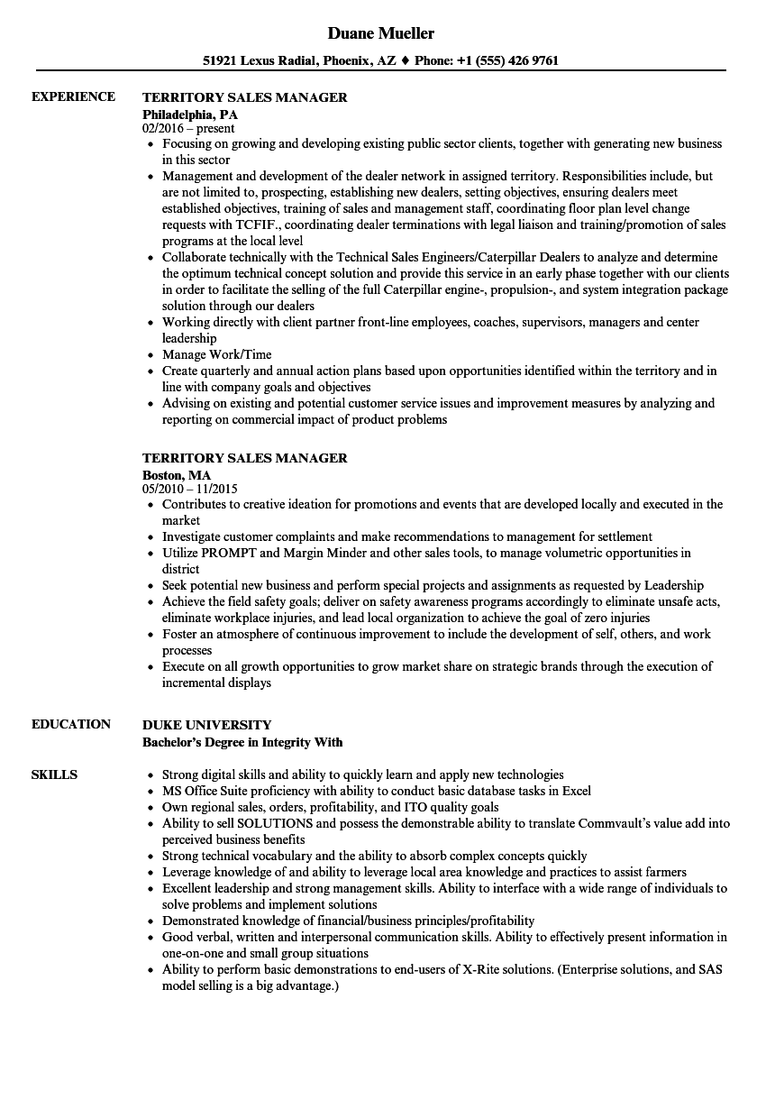 territory sales manager resume samples