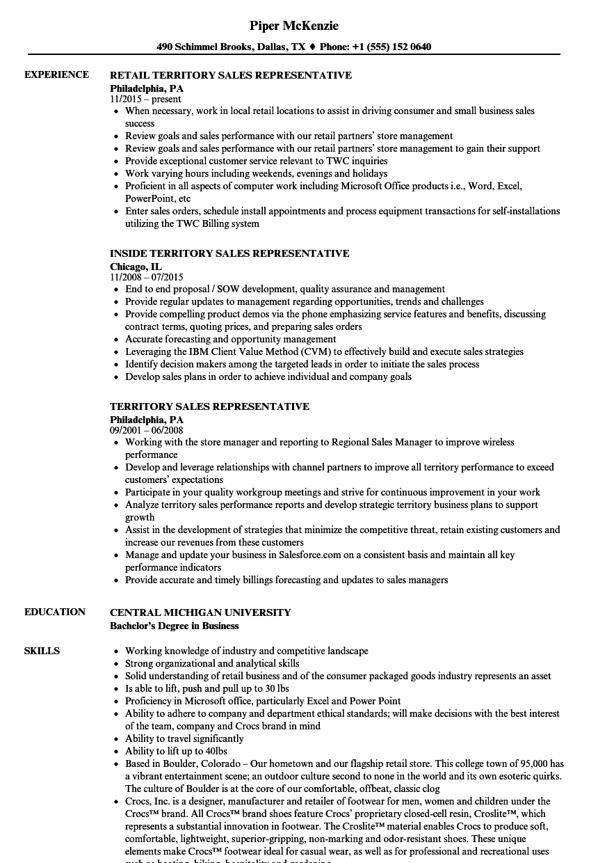 Territory Sales Representative Resume Samples Velvet Jobs