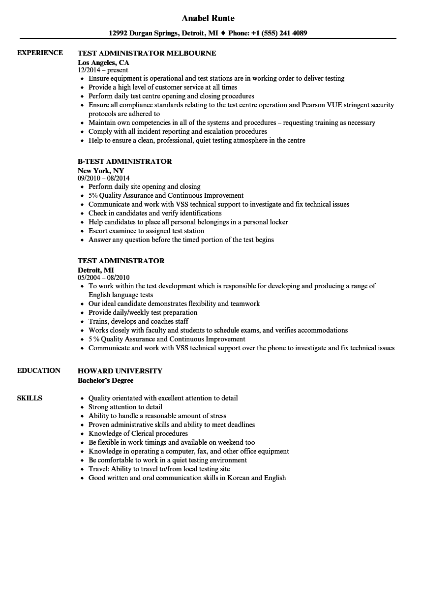 Test Administrator Resume Samples Velvet Jobs