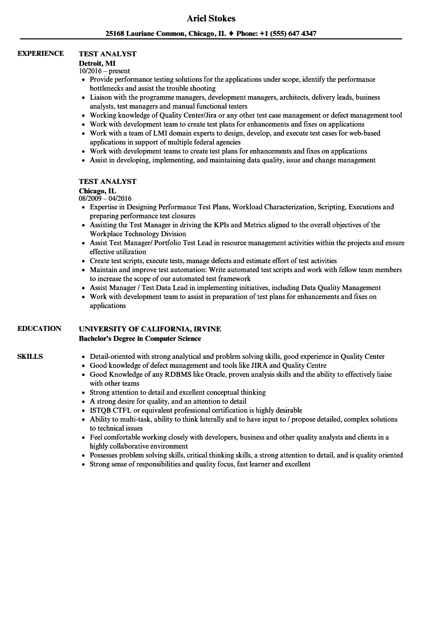 Test Analyst Resume Samples | Velvet Jobs