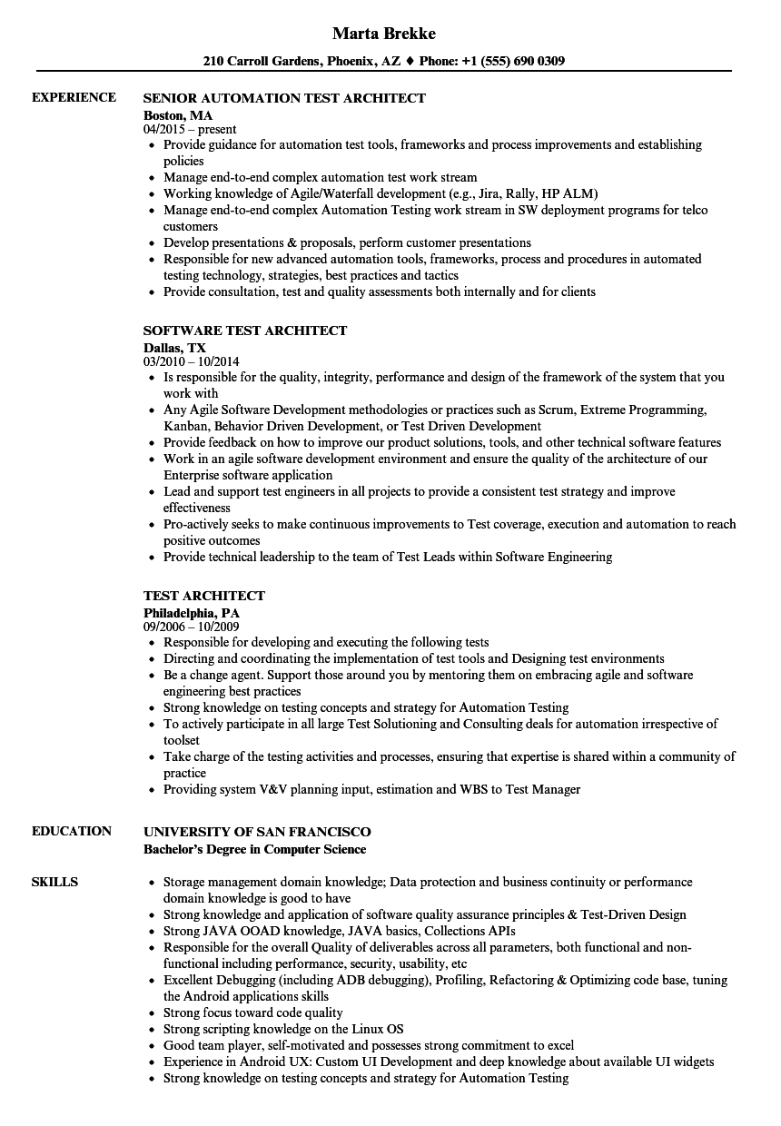 Test Architect Resume Samples | Velvet Jobs