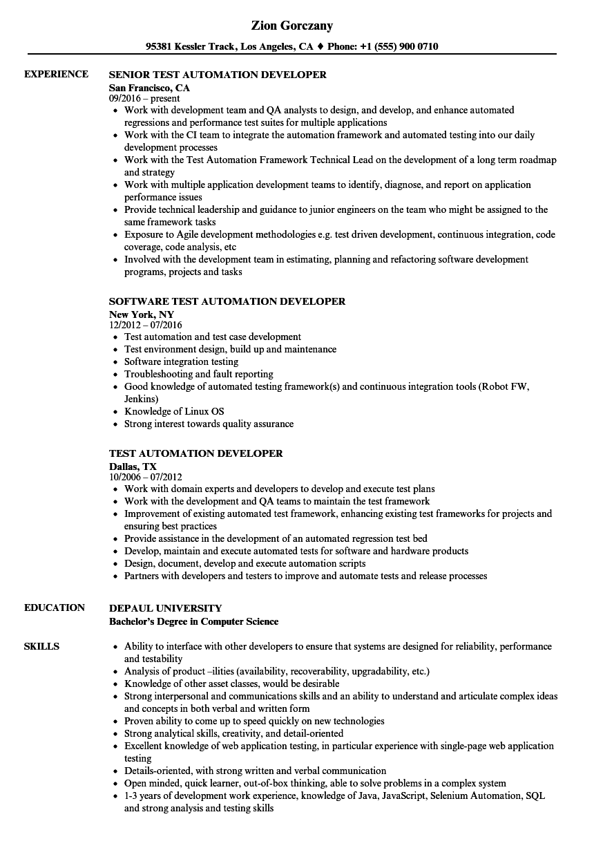 Test Automation Developer Resume Samples | Velvet Jobs