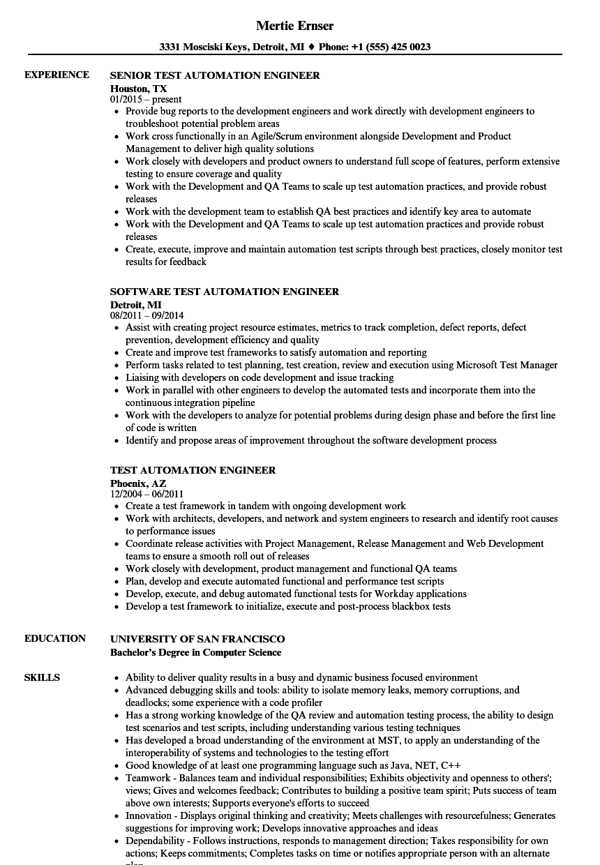 Test Automation Engineer Resume Samples | Velvet Jobs
