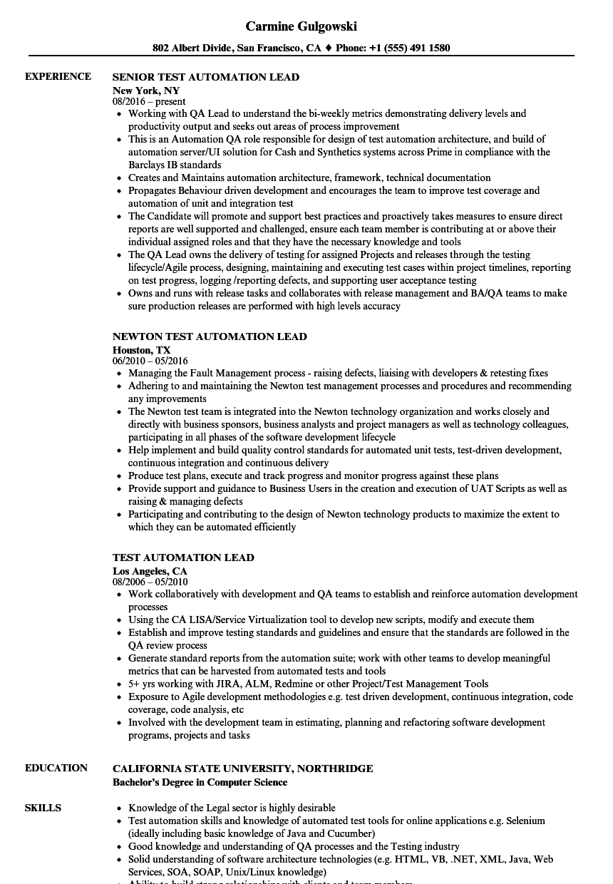 test automation lead resume samples