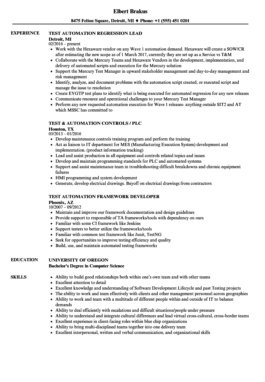 test automation resume samples