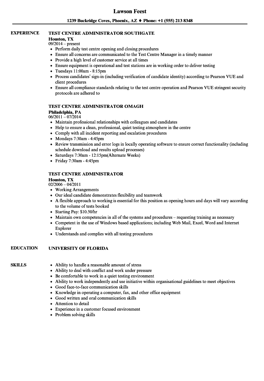 test centre administrator resume samples