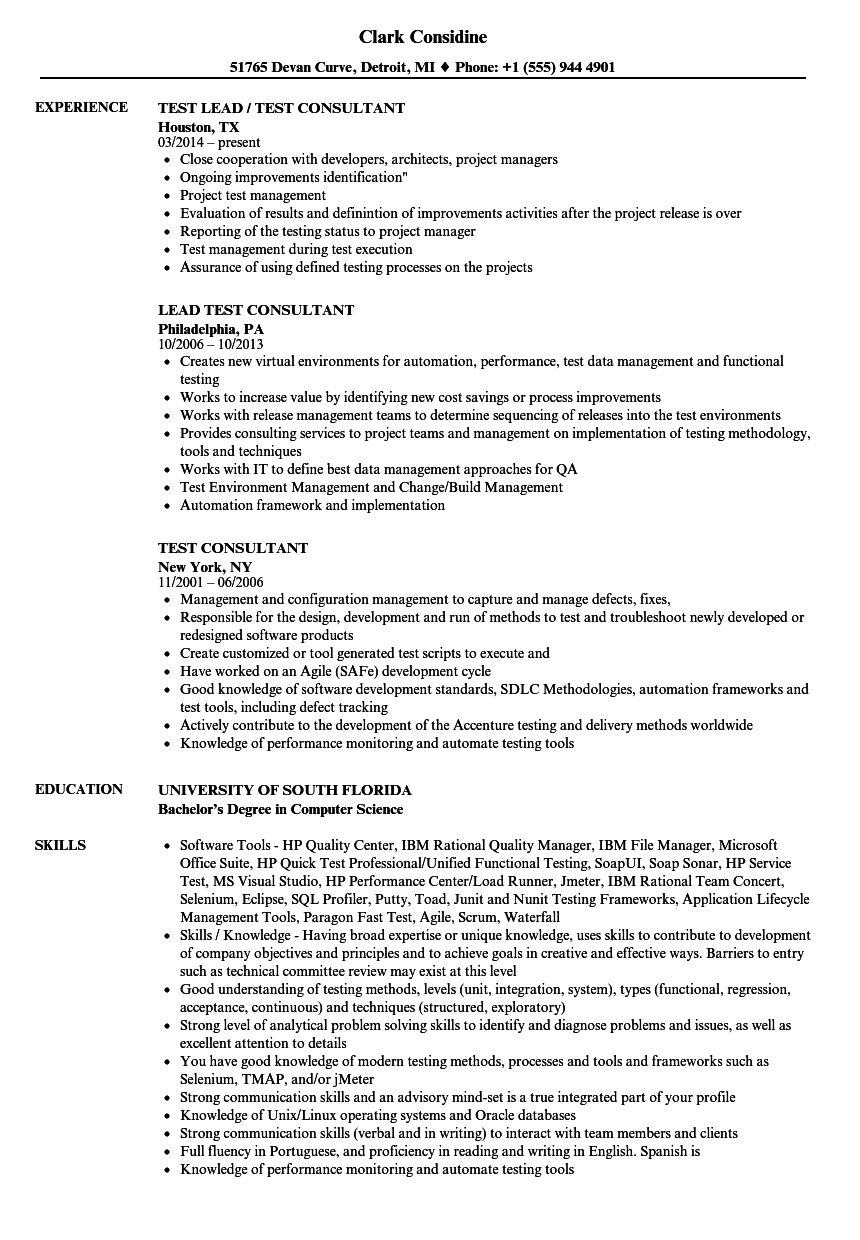 Test Consultant Resume Samples | Velvet Jobs