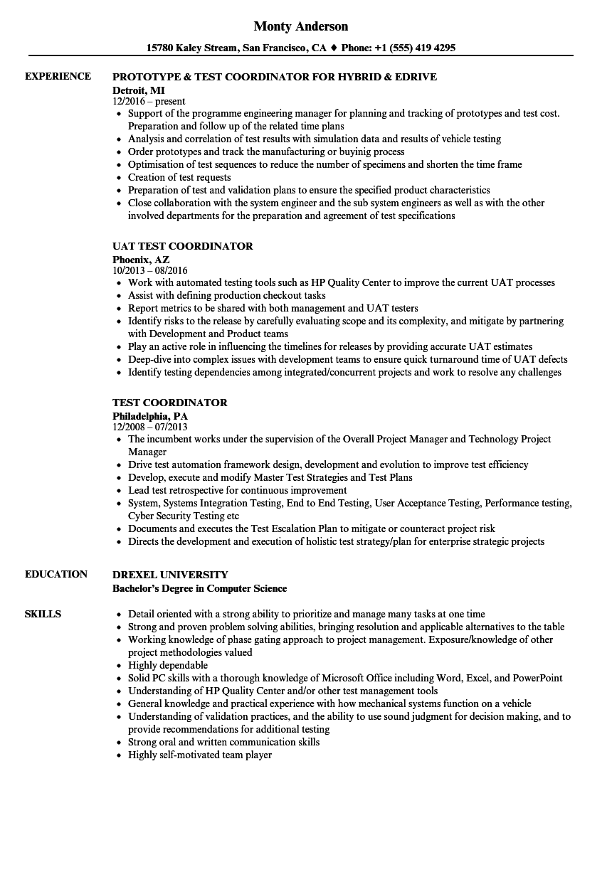 Test Coordinator Resume Samples | Velvet Jobs