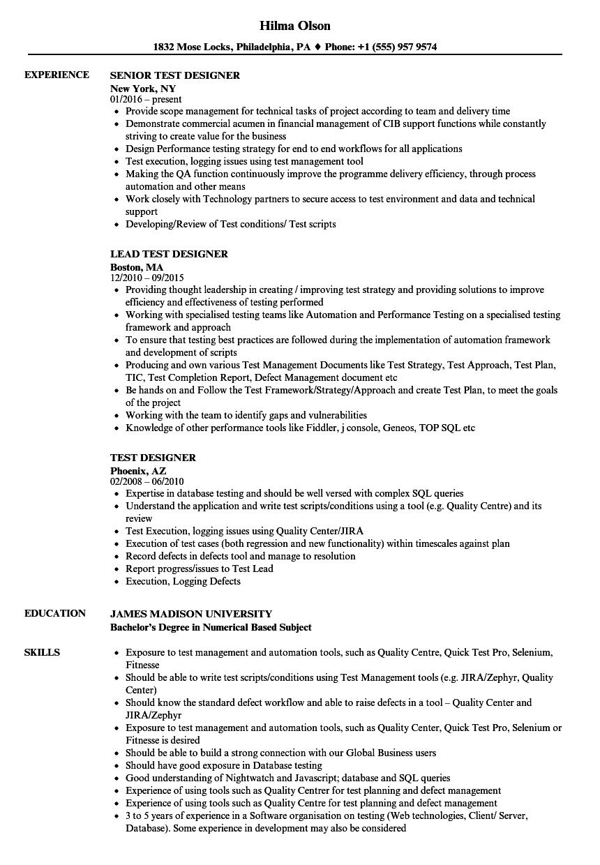 test designer resume samples
