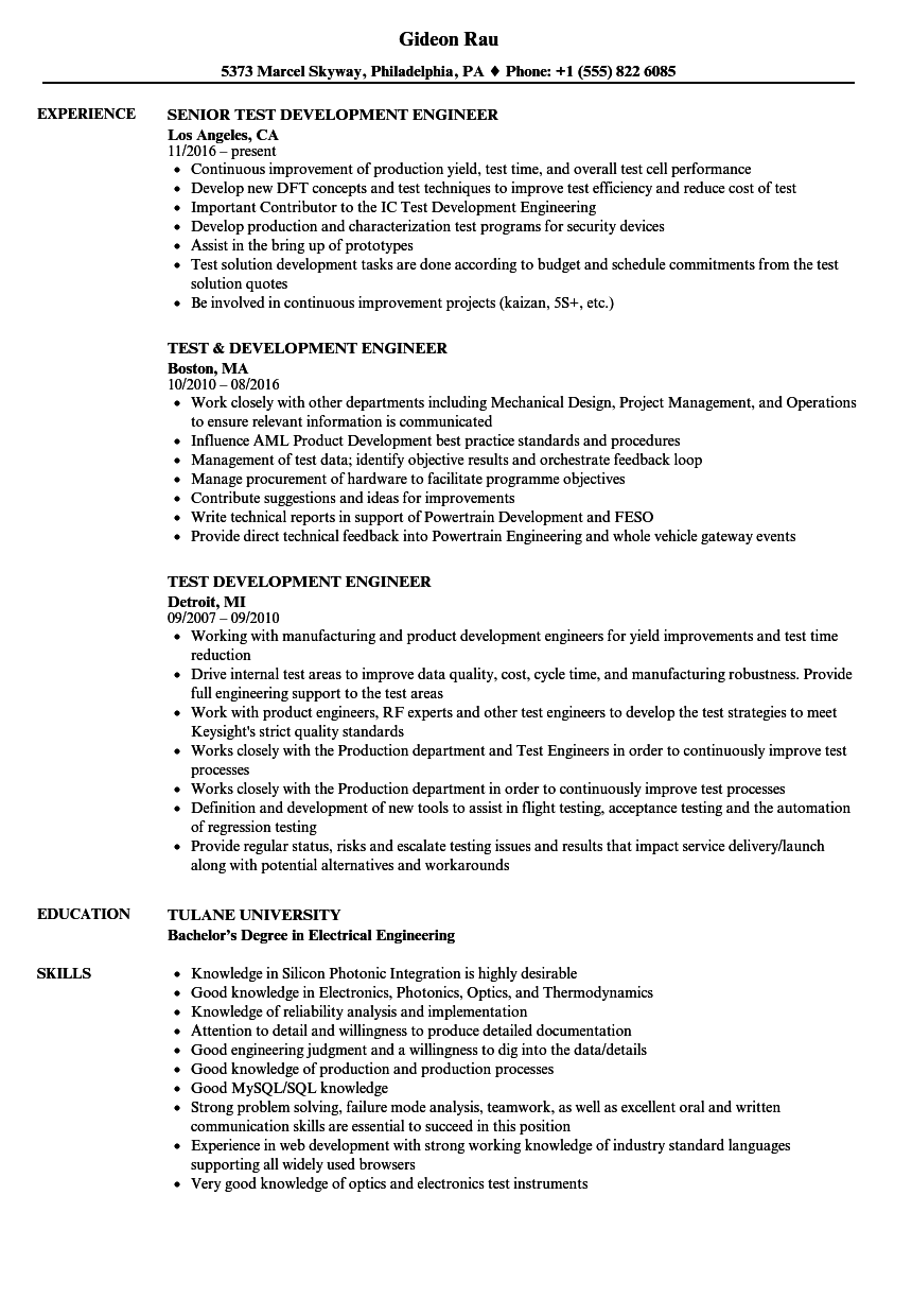 Test Development Engineer Resume Samples | Velvet Jobs