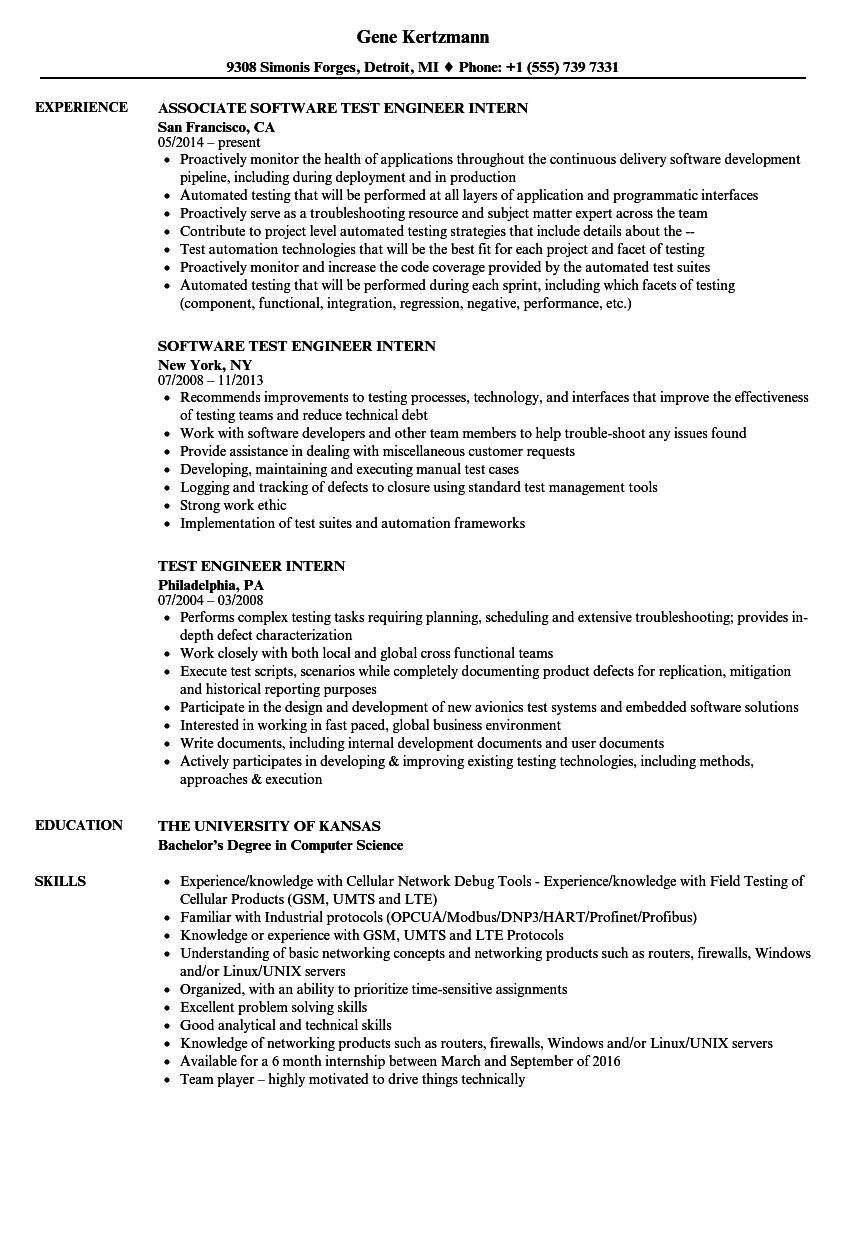 sample resume for software test engineer with experience - test engineer intern resume samples velvet jobs
