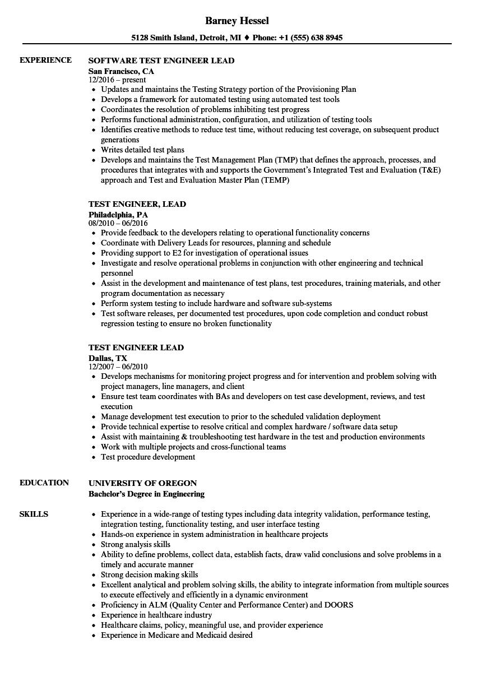 Test Engineer Lead Resume Samples | Velvet Jobs