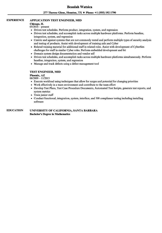 Test Engineer Mid Resume Samples Velvet Jobs