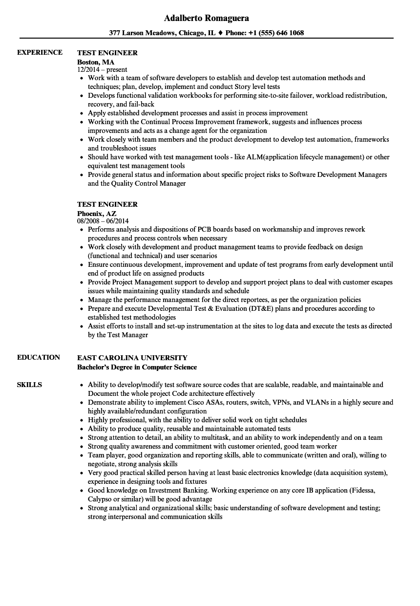 Test Engineer Resume Samples Velvet Jobs