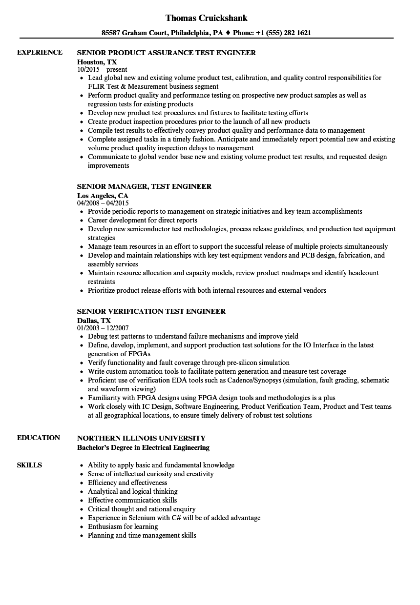 test engineer    senior test engineer resume samples