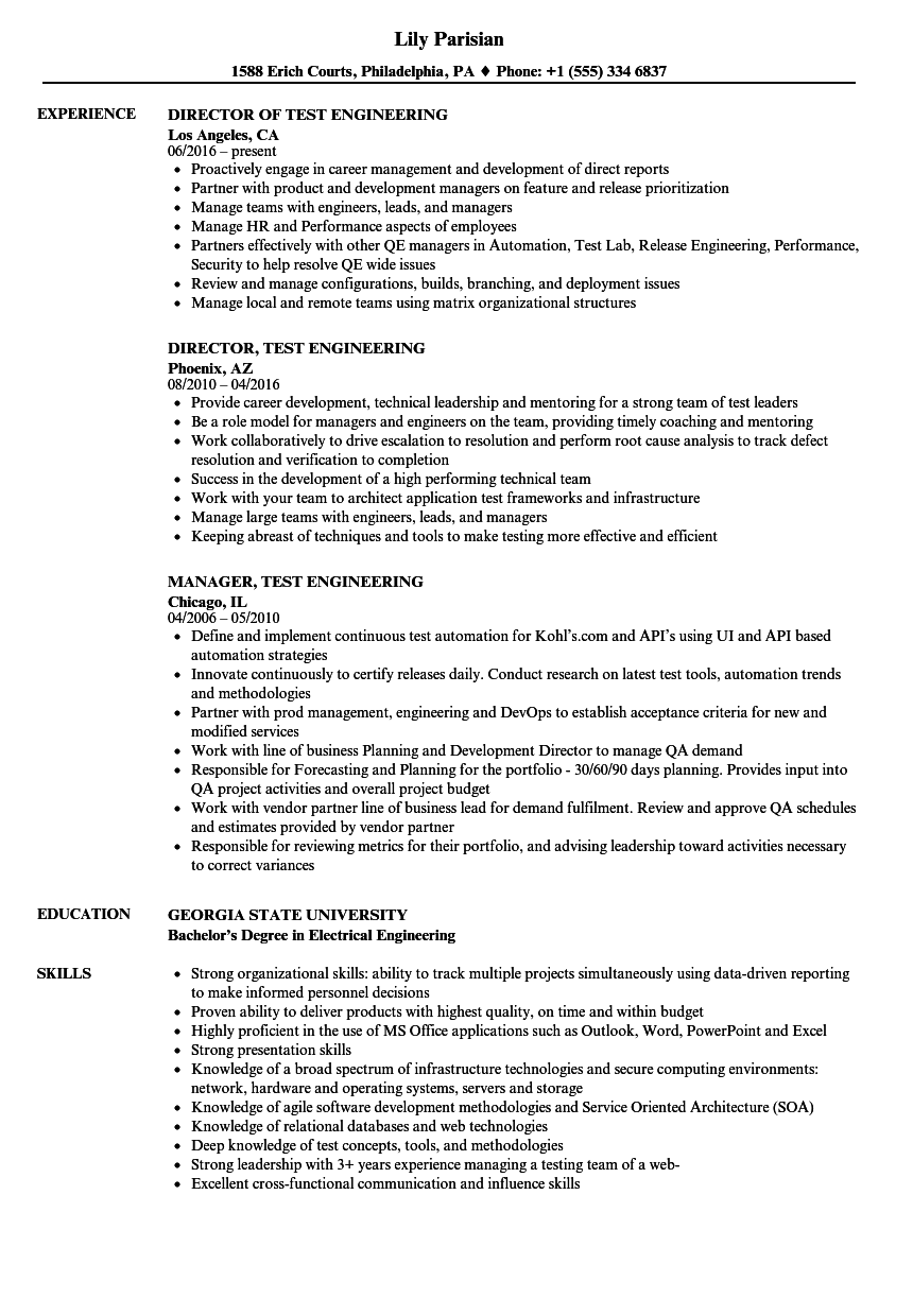 test engineering resume samples