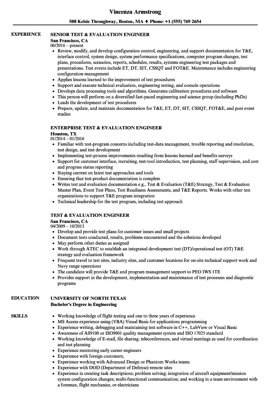 test  u0026 evaluation engineer resume samples