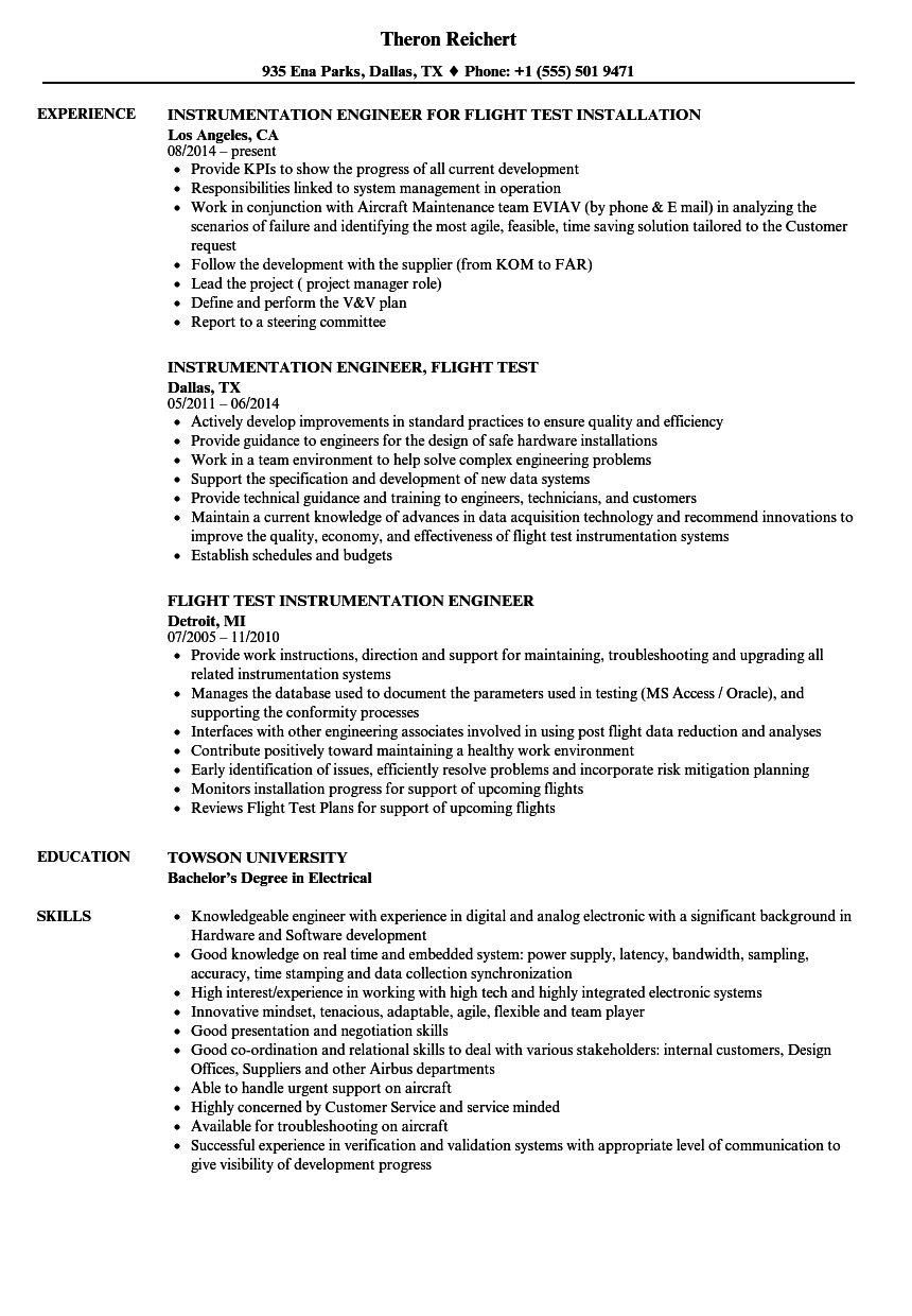 test flight engineer resume samples