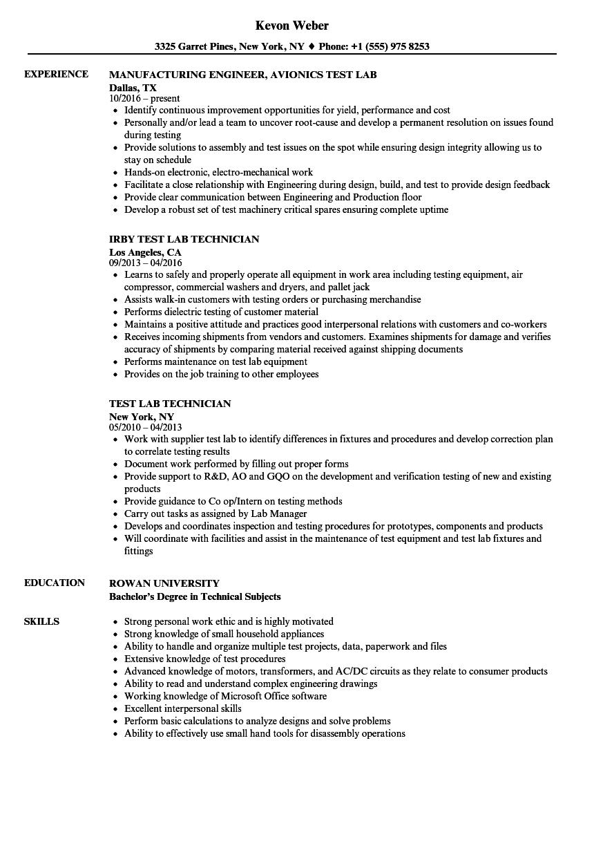 test lab resume samples