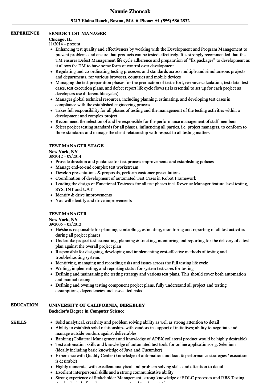 Test Manager Resume Samples | Velvet Jobs