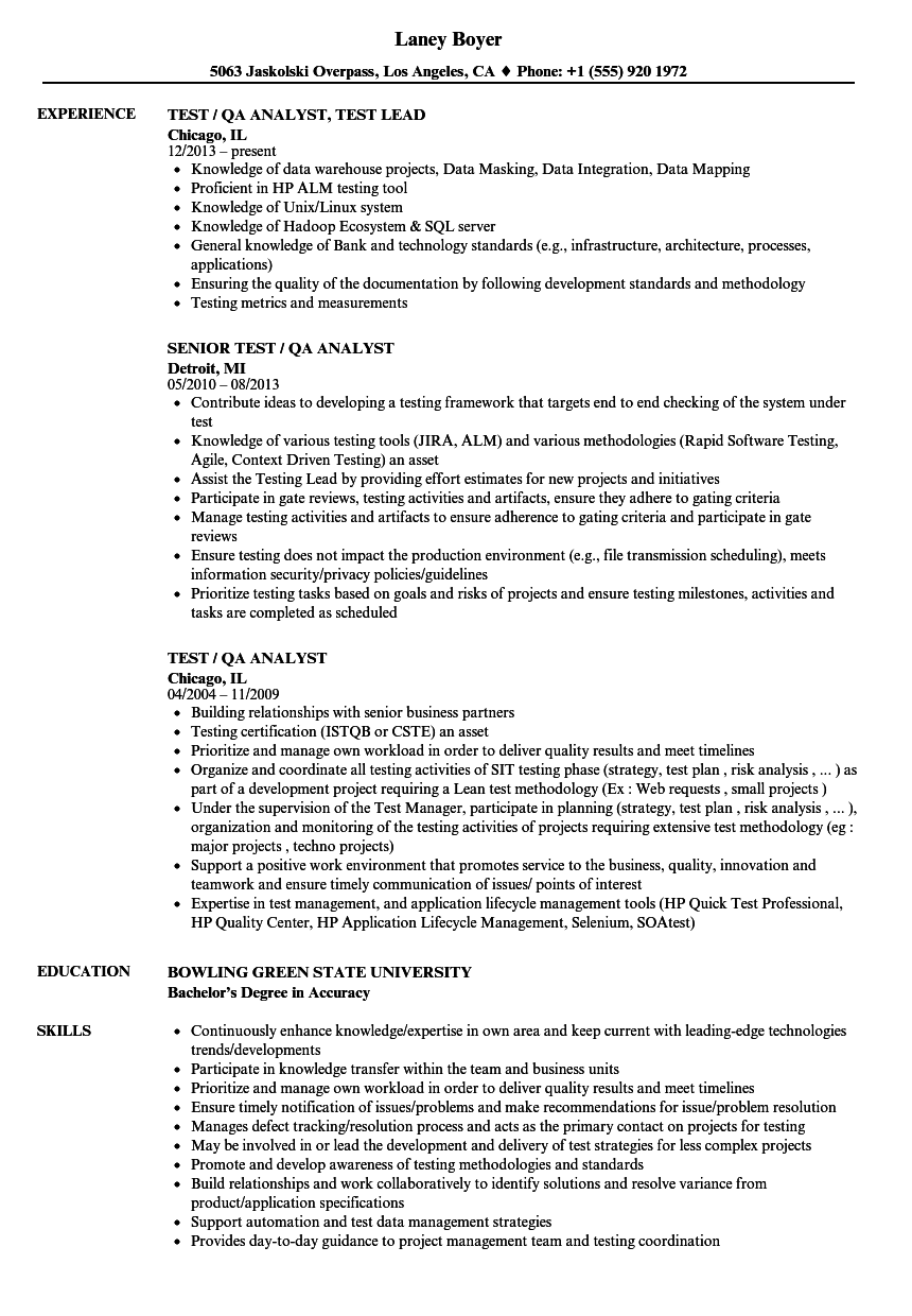 Test QA Analyst Resume Samples Velvet Jobs
