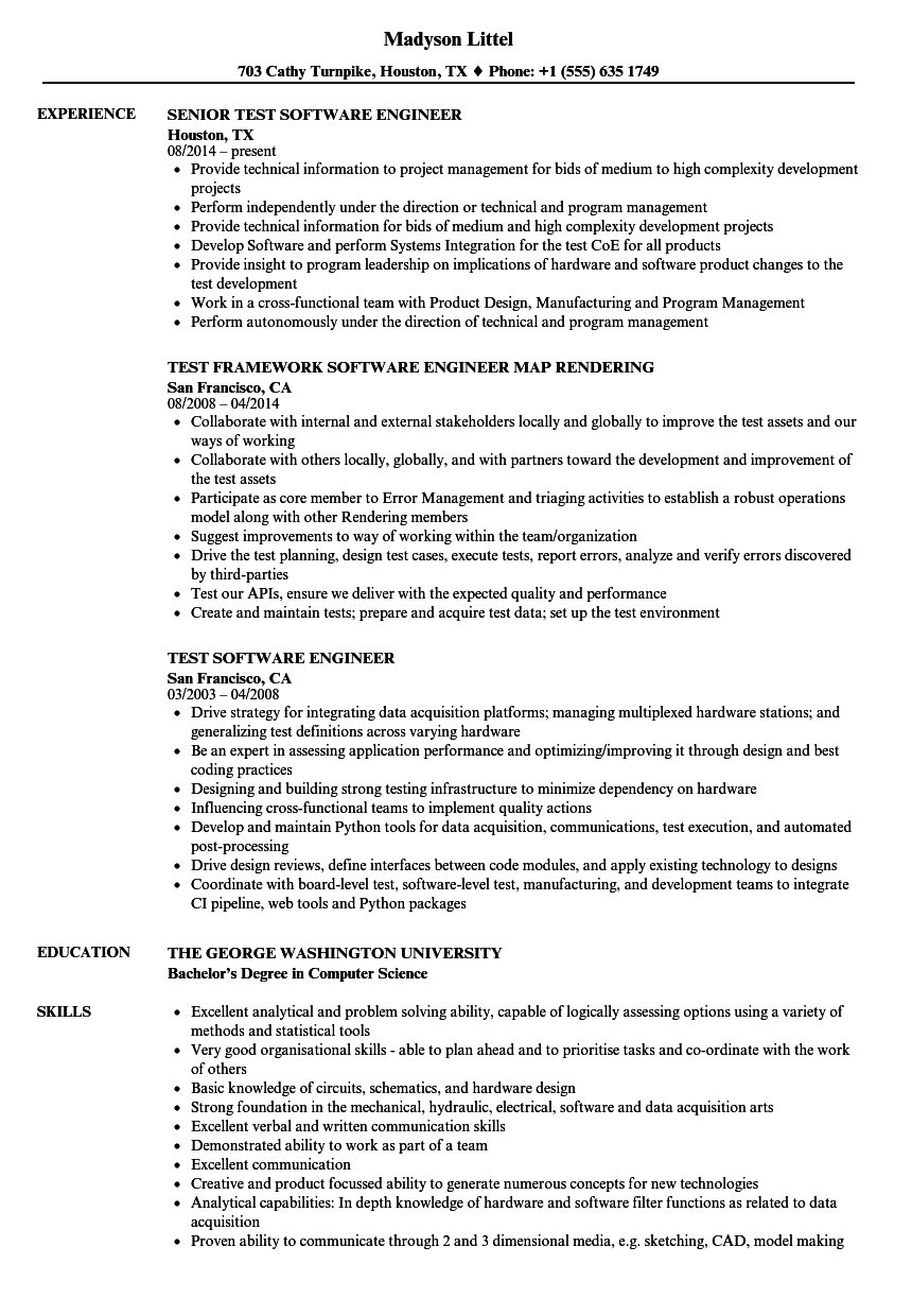 test software engineer resume samples