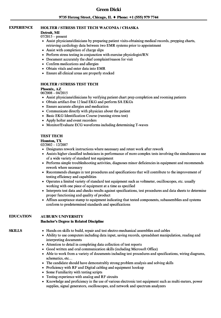 Download Test Tech Resume Sample As Image File
