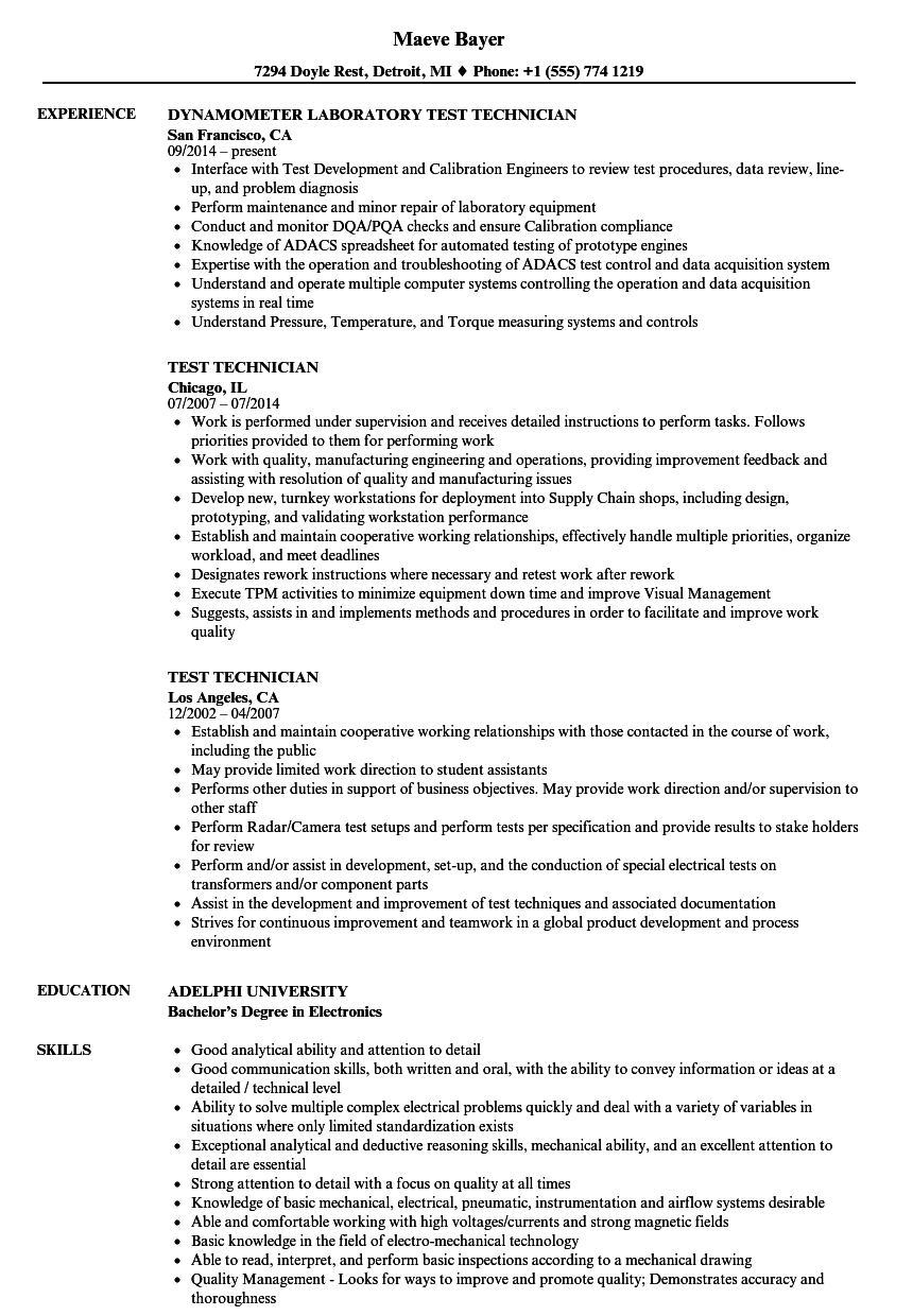 Test Technician Resume Samples | Velvet Jobs