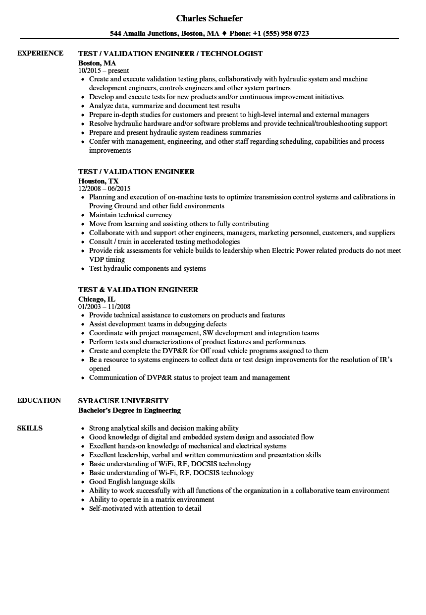 Test Amp Validation Engineer Resume Samples Velvet Jobs