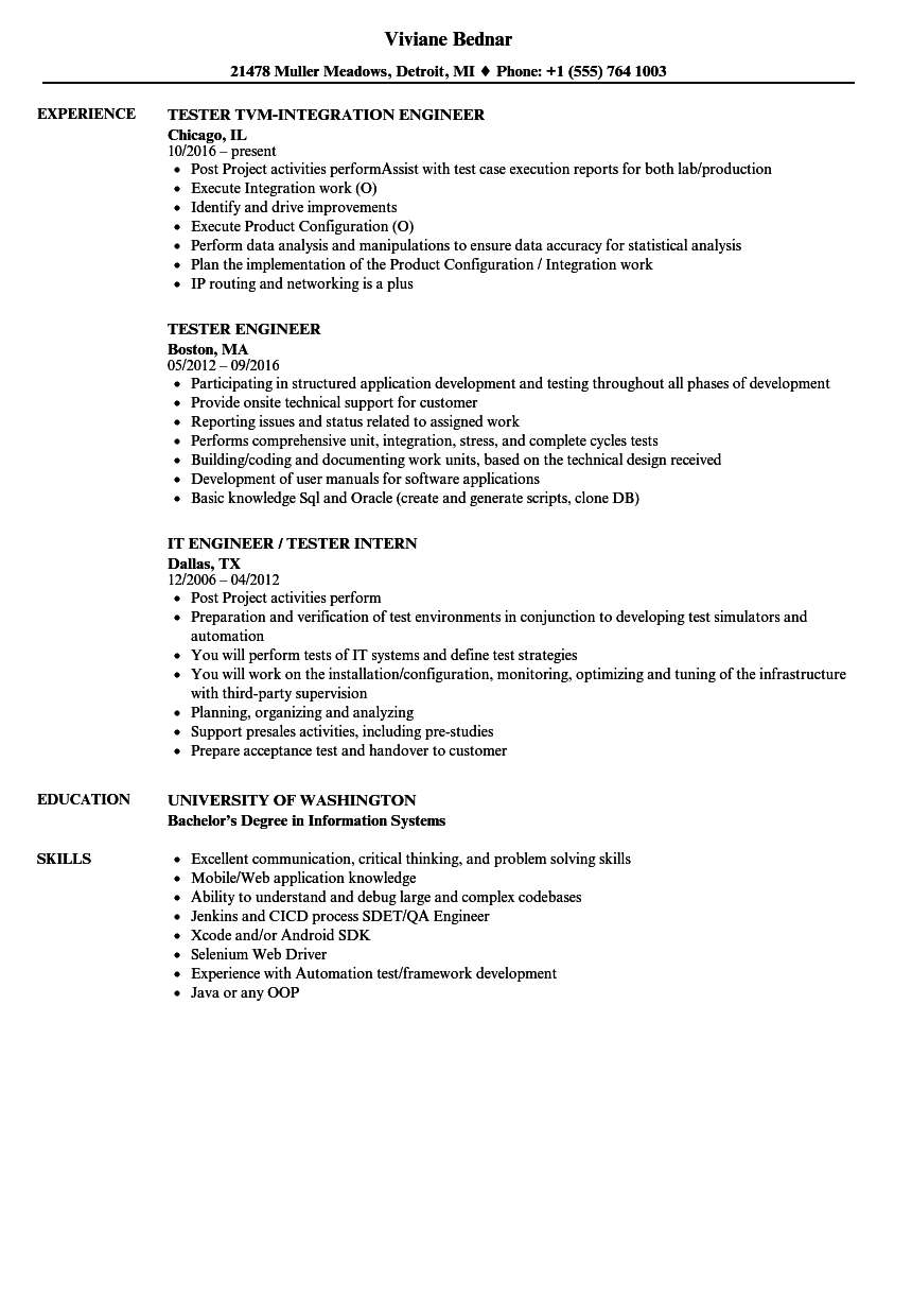 Tester Engineer Resume Samples Velvet Jobs