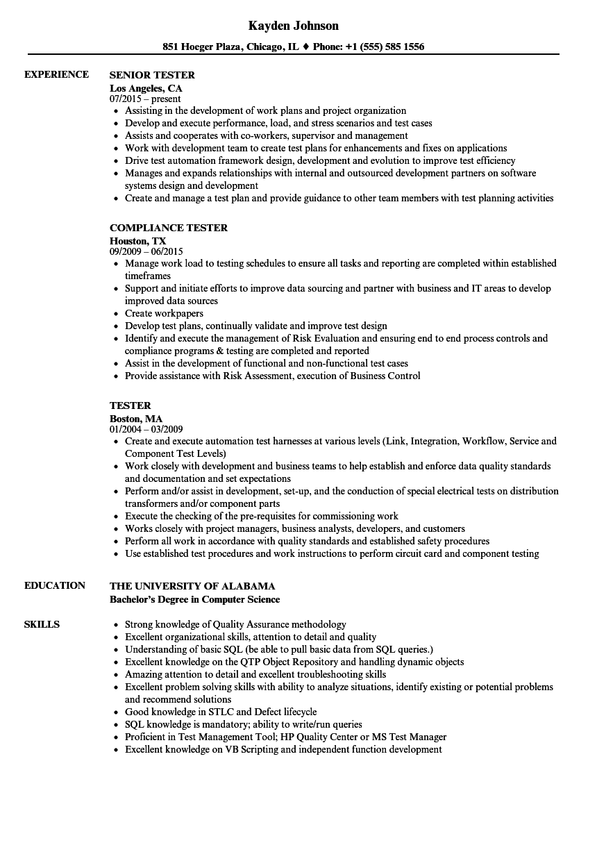 Tester Resume Samples | Velvet Jobs