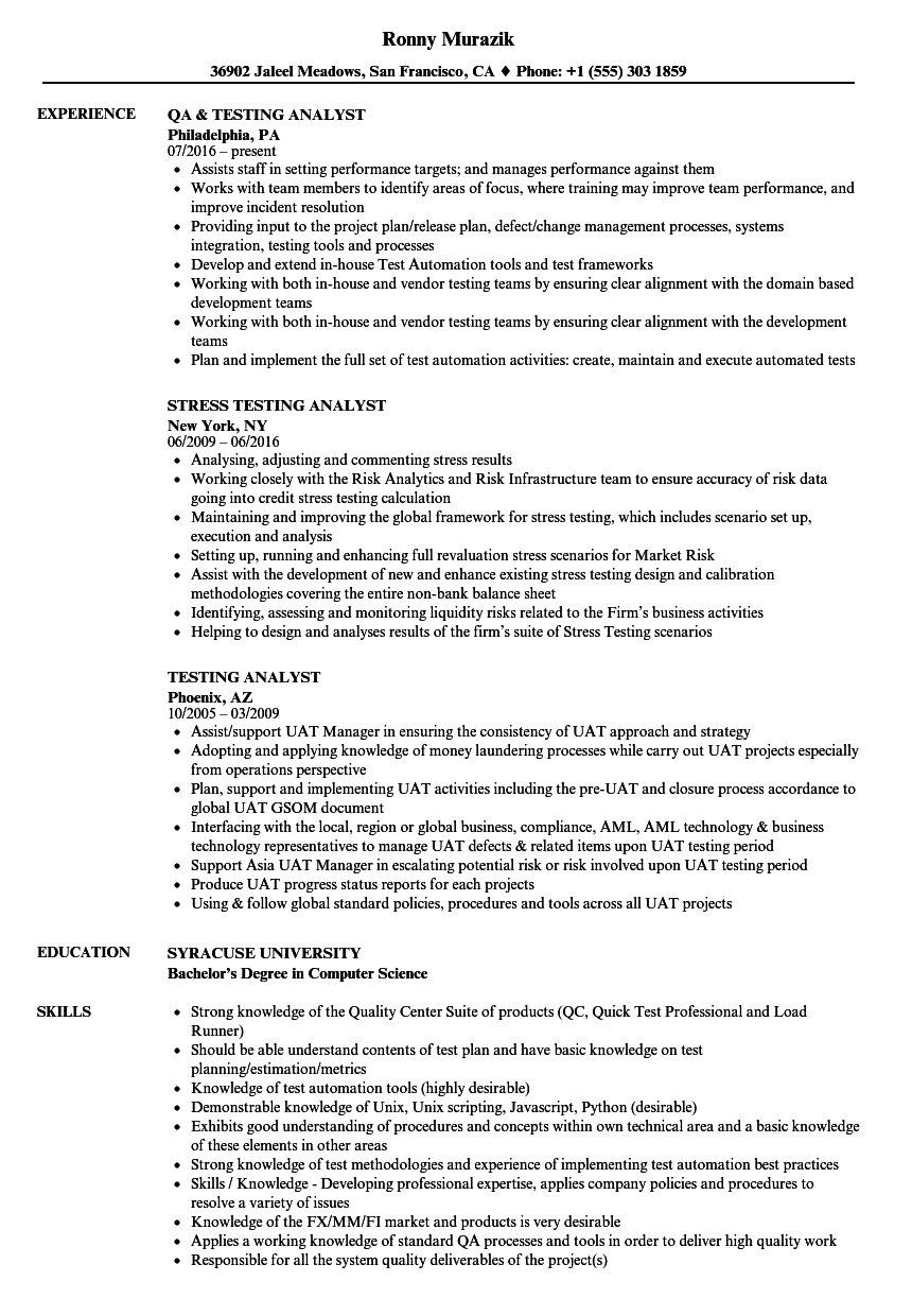 Testing Analyst Resume Samples | Velvet Jobs