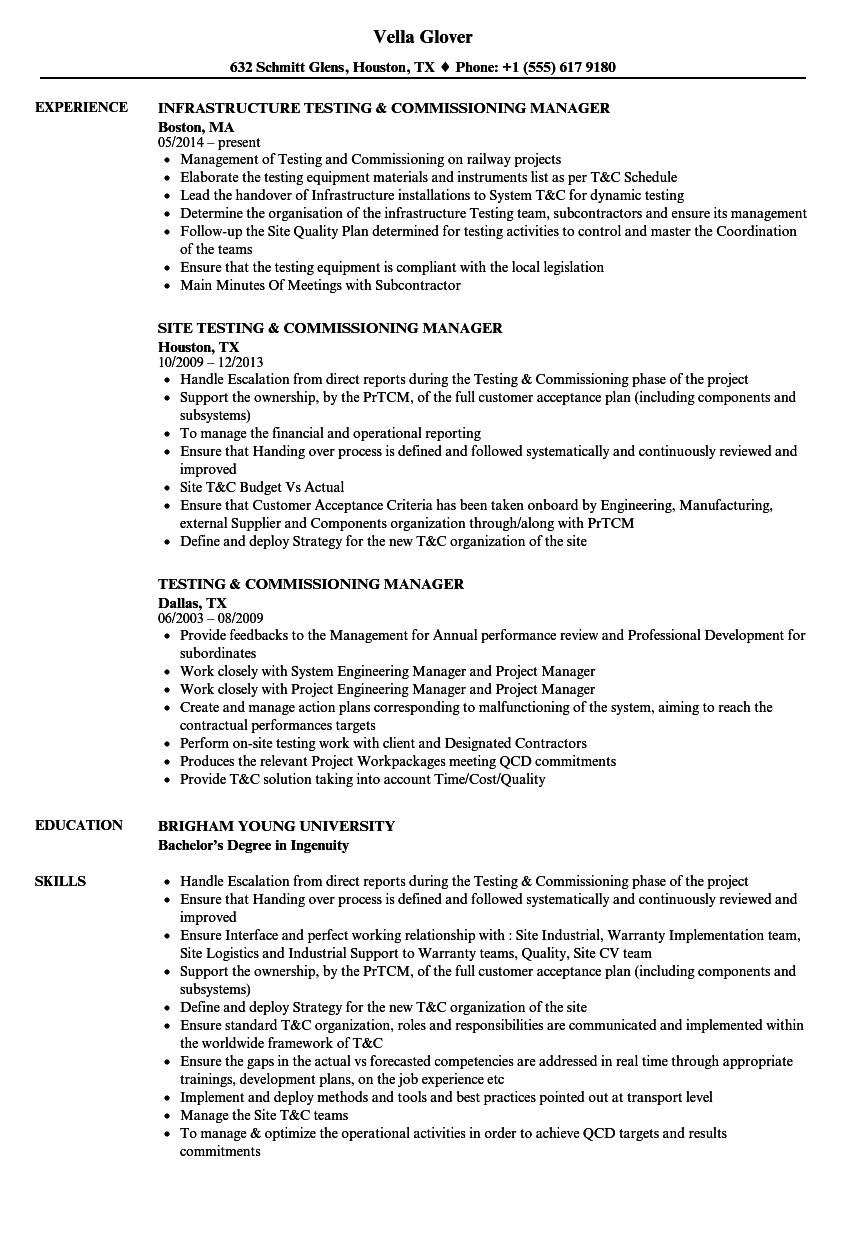Testing & Commissioning Resume Samples | Velvet Jobs