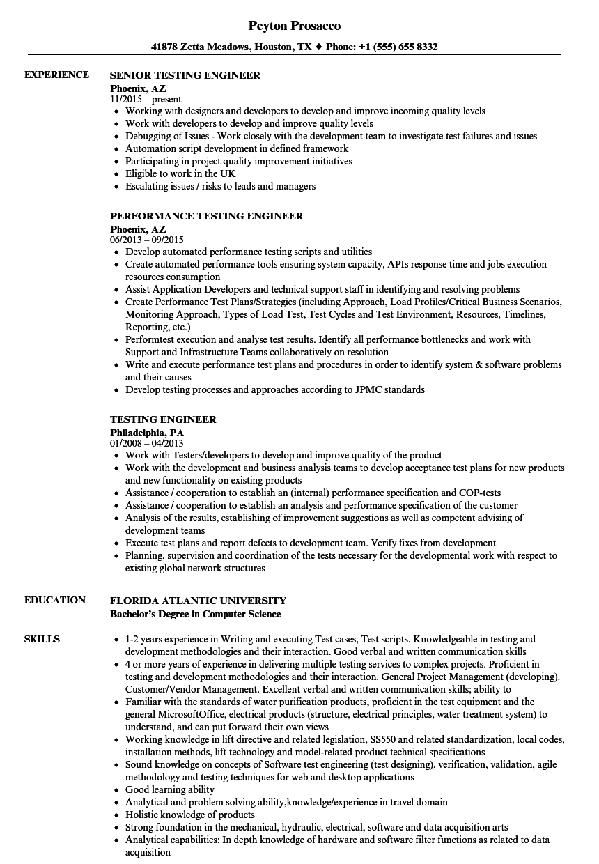 testing engineer resume samples