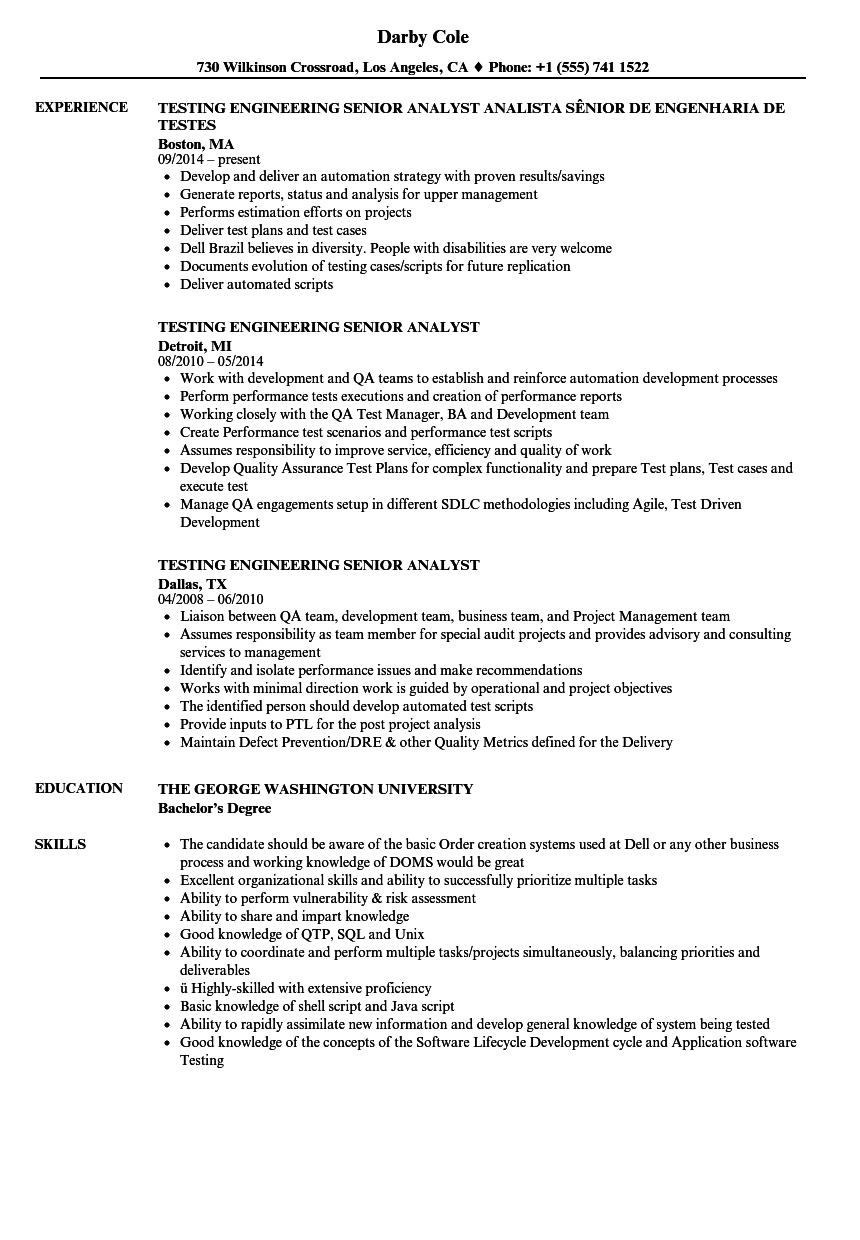 Testing Engineering Senior Analyst Resume Samples | Velvet Jobs