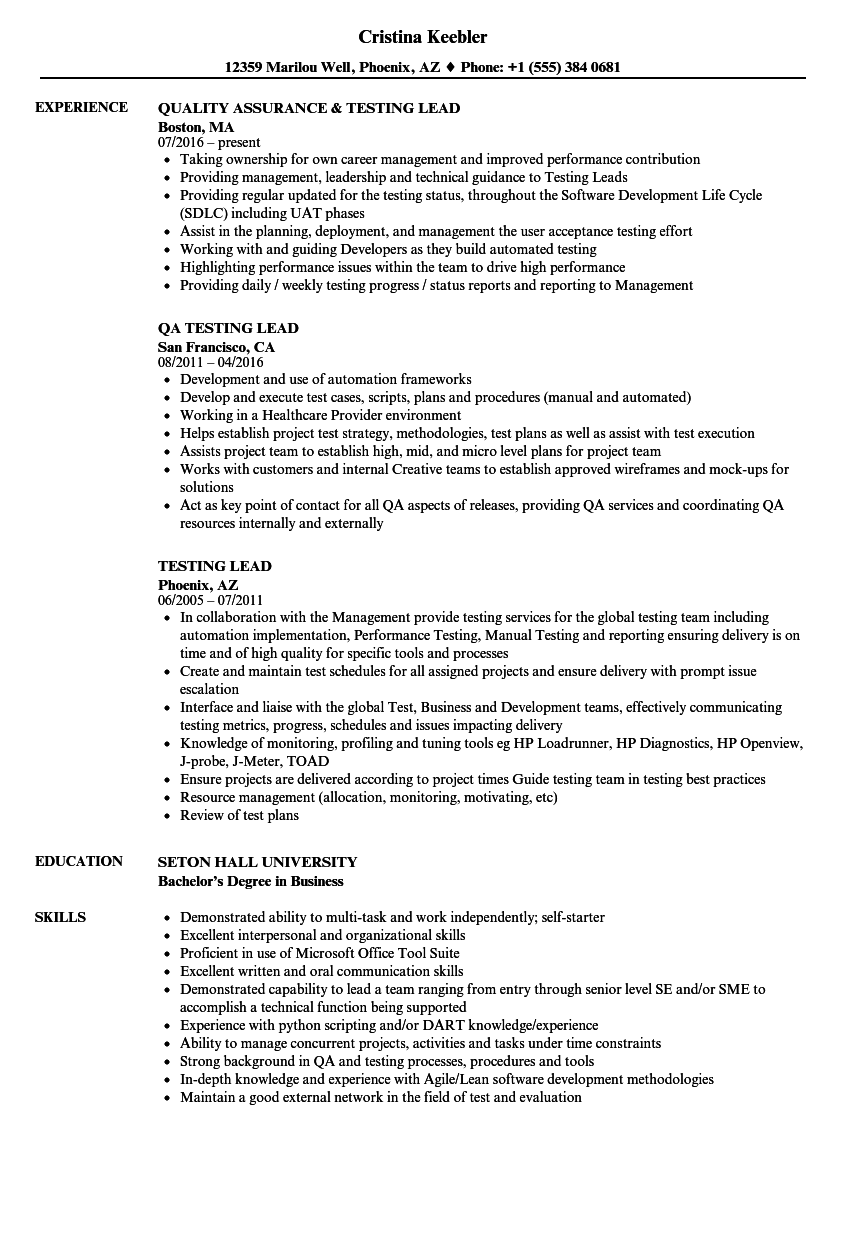 Testing Lead Resume Samples | Velvet Jobs