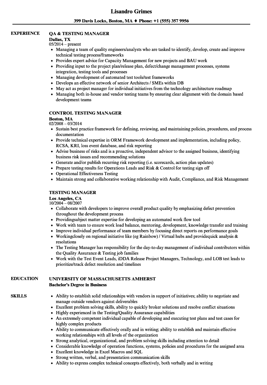 testing manager resume samples