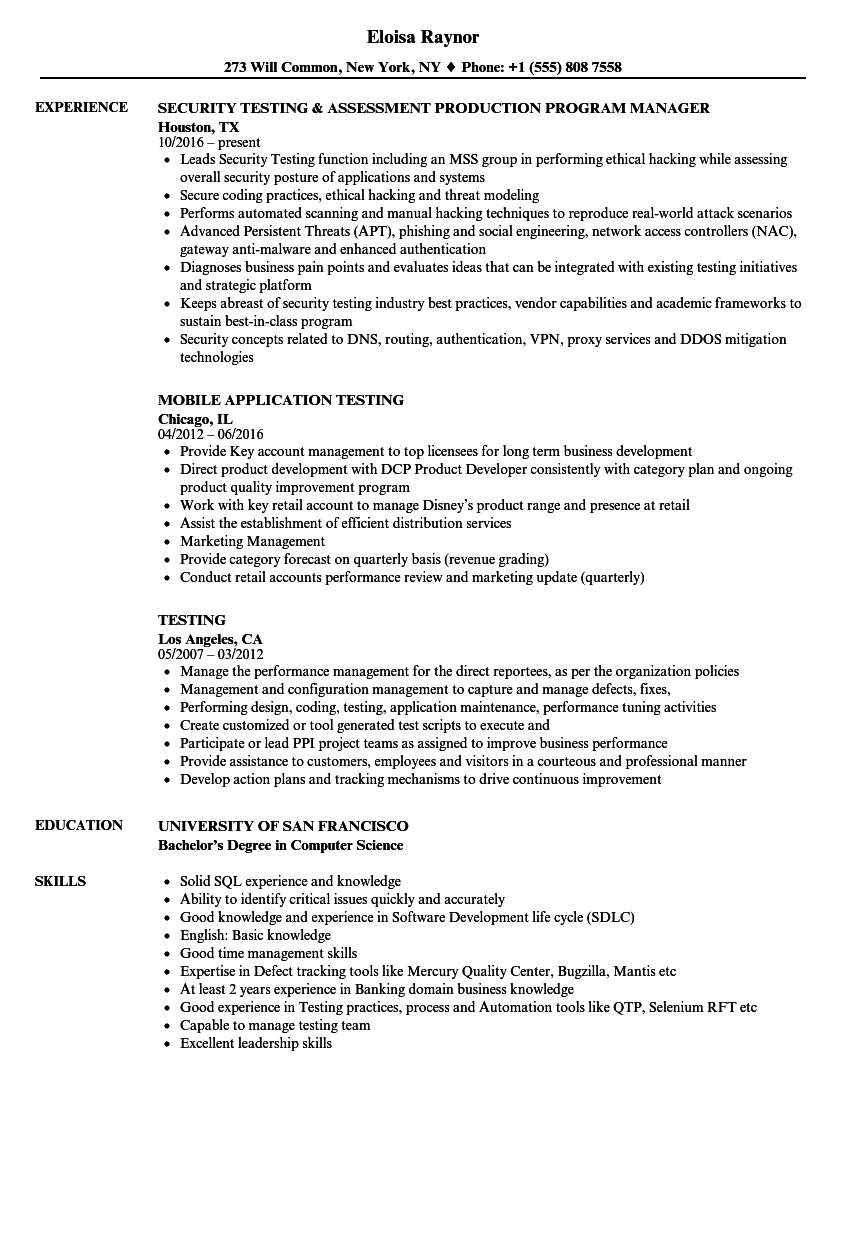 Testing Resume Samples | Velvet Jobs