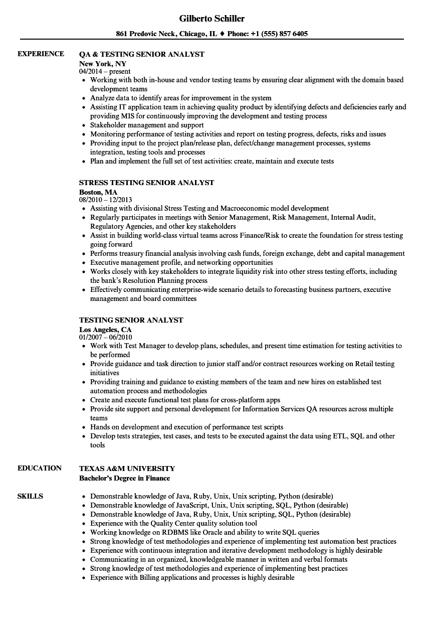 testing senior analyst resume samples