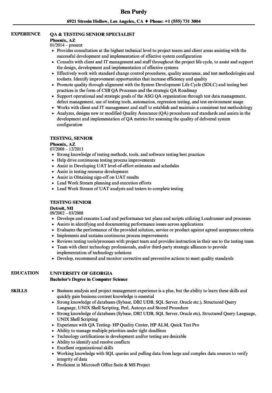 Testing, Senior Resume Samples | Velvet Jobs