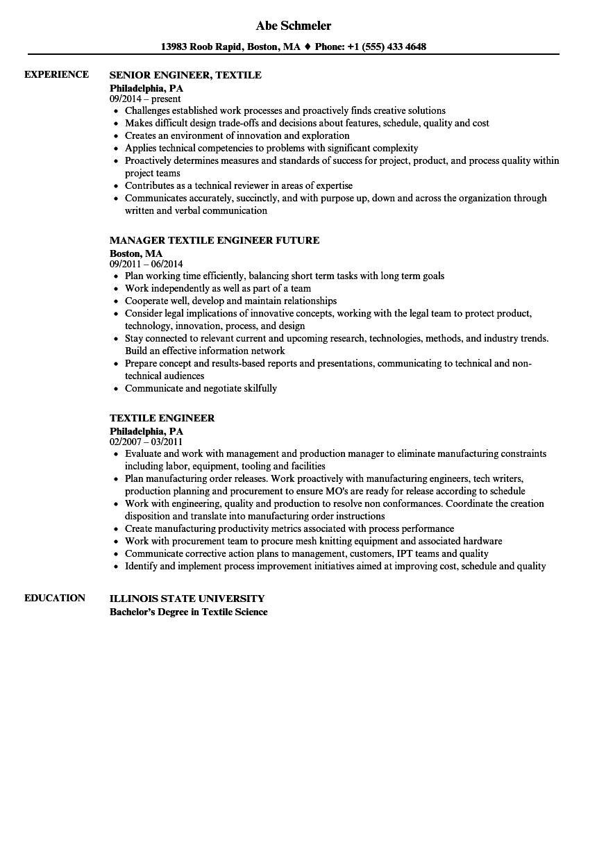 Textile Engineer Resume Samples Velvet Jobs