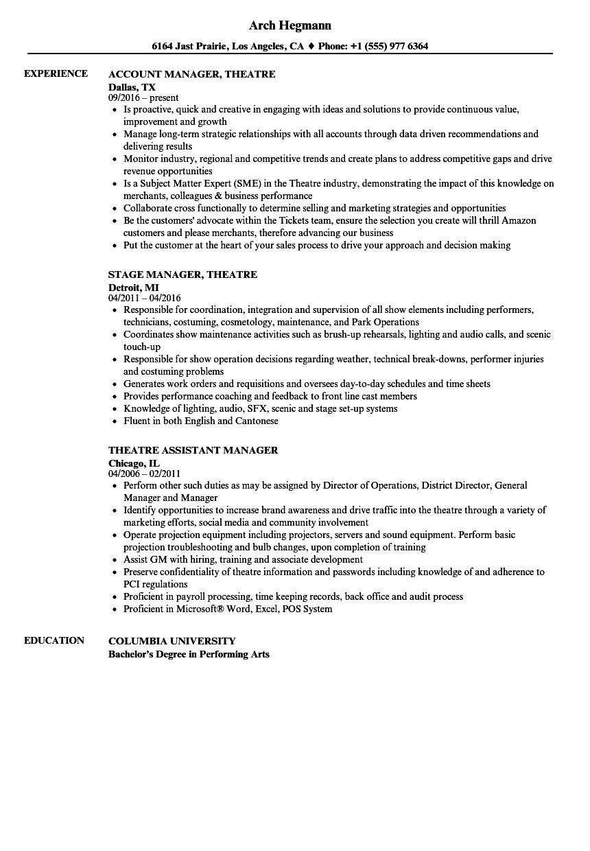 theatre manager resume samples