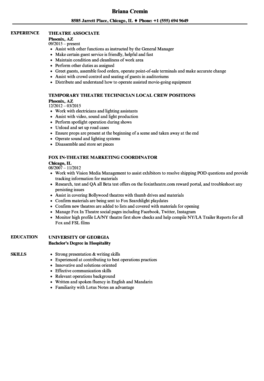 Theatre Resume Samples Velvet Jobs
