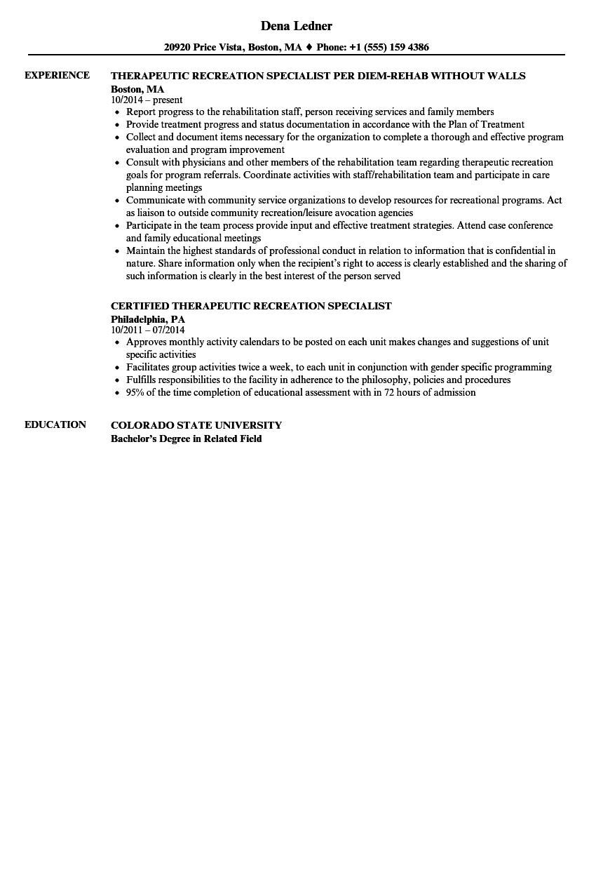 Therapeutic Recreation Specialist Resume Samples Velvet Jobs