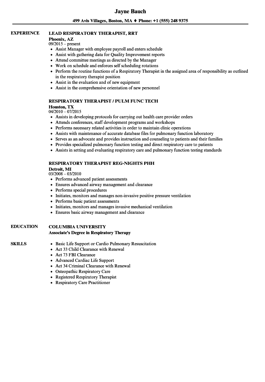 Download Therapist Respiratory Resume Sample As Image File