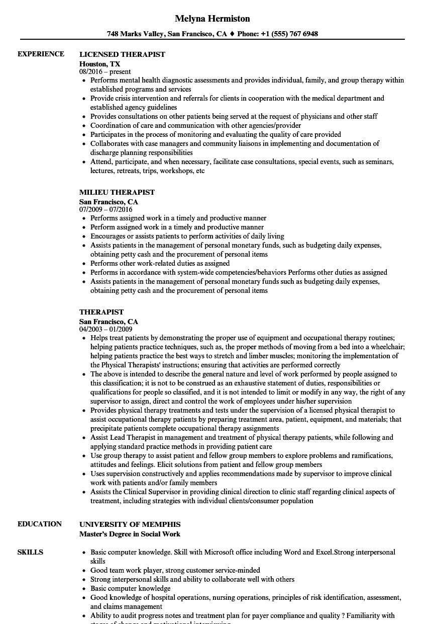 Therapist Resume Samples | Velvet Jobs